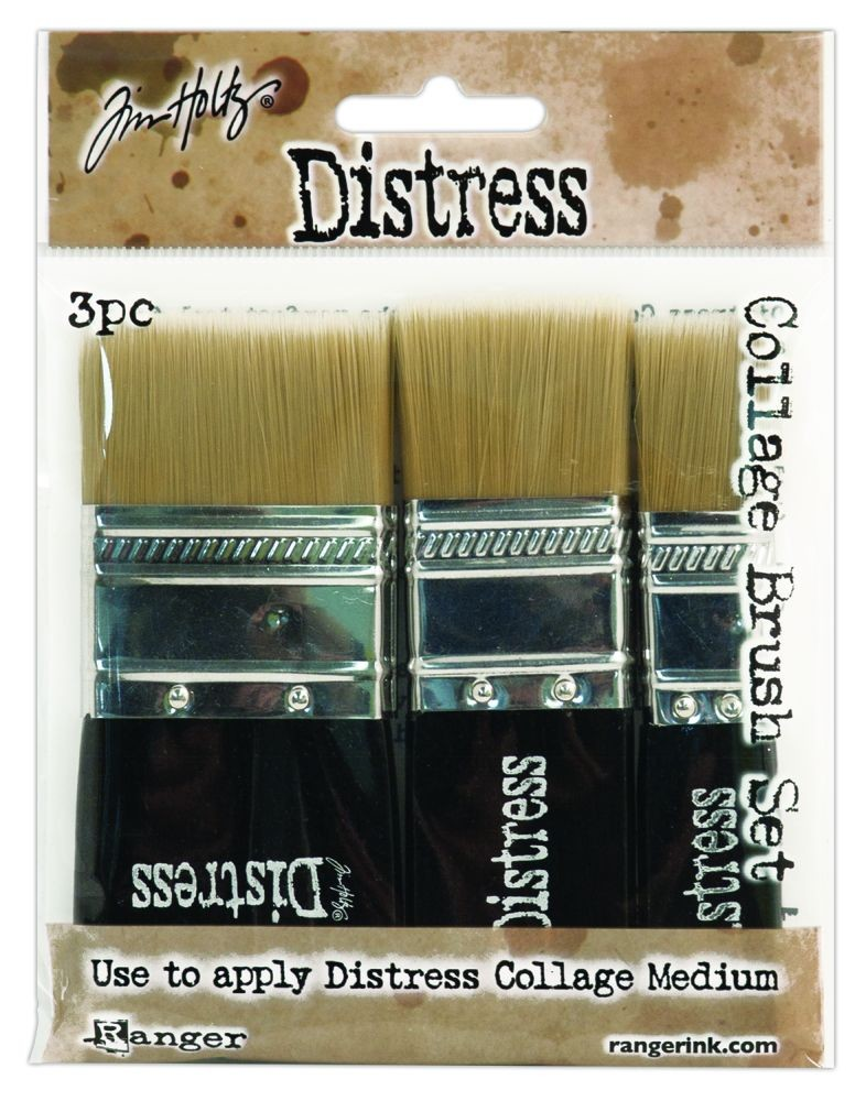 "Tim Holtz  Distress Collage Brush 3 Pack Assortment (Includes (1) 3/4"", 1 1/4"" & 1  3/4"" Collage Brush)"