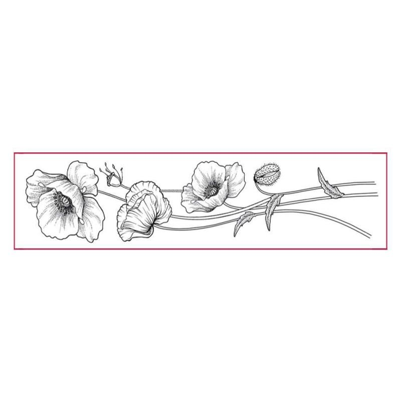 Stamperia High Definition Stamp cm. 4x18 Poppies