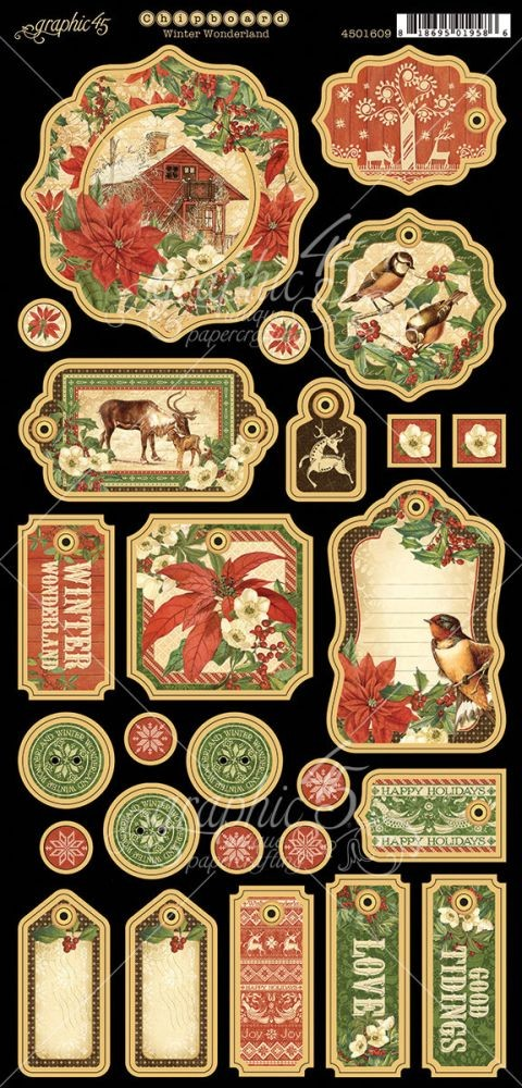 Graphic 45 Winter Wonderland Chipboard