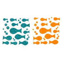 Darice Foamies Glitter Stickers - Fish - Green and Orange - 2 sheets