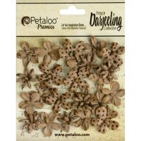 Petaloo Darjeeling Paper Mini Blossoms 24/Pkg - Craft Brown