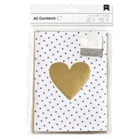 American Crafts Valentine's Card Set - 5 x 7 - Kraft & Gold Foil
