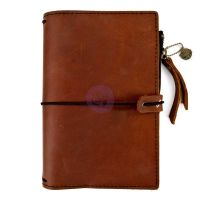 Prima Marketing Prima Traveler''s Journal Leather Essential - Rust Brown