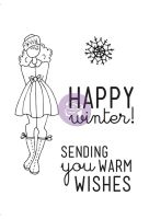 Prima Marketing Julie Nutting Doll Stamp - Warm Wishes Set 4