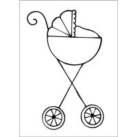 Prima Marketing Julie Nutting Doll Stamp Accessories - Baby Stroller (2.5 x 3.5 Cling Stamp)