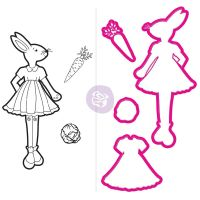 Prima Marketing Julie Nutting Doll Stamp & Dies - Bunny