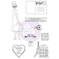 Prima Marketing Julie Nutting Doll Stamp - Travel Girl 4