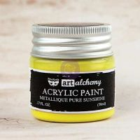 Prima Marketing Art Alchemy-Acrylic Paint-Metallique Pure Sunshine 1.7oz