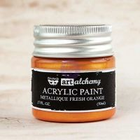 Prima Marketing Art Alchemy-Acrylic Paint-Metallique Fresh Orange 1.7oz