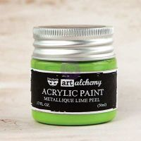 Prima Marketing Art Alchemy-Acrylic Paint-Metallique Lime Peel 1.7oz