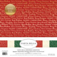 Carta Bella Merry Christmas Words Gold Foil 12x12 Collection Kit