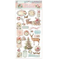 Stamperia Chipboard - Pink Christmas (cm. 15x30)