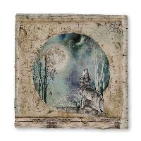 Stamperia Magna Carta printed sheet cm. 30x30 Cosmos wolf and moon