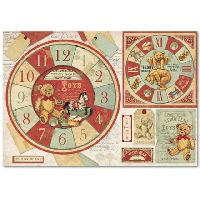 Stamperia Rice Paper cm. 48x33 - Teddy Bear watch