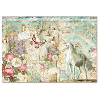 Stamperia Decoupage Rice Paper 48x33 Wonderland Unicorn