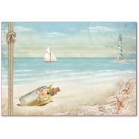 Stamperia Decoupage Rice Paper 48x33 Sea Land sailing ship and lighthouse