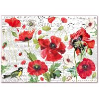 Stamperia Decoupage Rice Paper 48x33 Botanic poppies