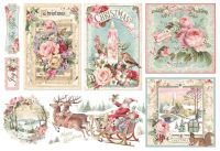 Stamperia Decoupage Rice Paper 48X33 Pink Christmas