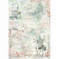Stamperia A3 Decoupage Rice Paper packed Unicorn fantasy