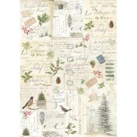 Stamperia A3 Decoupage Rice Paper packed Winter Botanic