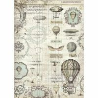 Stamperia A3 Rice paper packed Voyages Fantastiques balloon