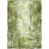 Stamperia A3 Rice paper packed Green forest