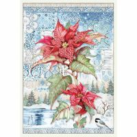 Stamperia A3 Decoupage Rice paper packed Poinsettia red