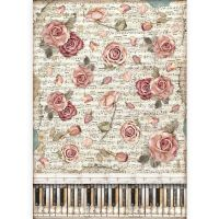 Stamperia A3 Rice paper packed - Passio roses and piano