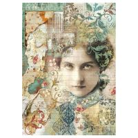 Stamperia A4 Decoupage Rice Paper Packed Time is an Illusion Face