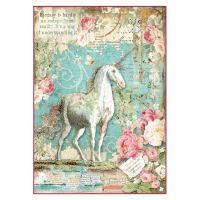 Stamperia A4 Decoupage Rice Paper Packed Wonderland Unicorn