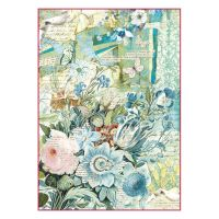 Stamperia A4 Decoupage Rice Paper Packed Blue flowers bouquet