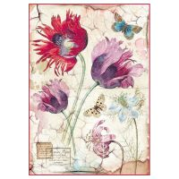 Stamperia A4 Decoupage Rice Paper Packed Vintage tulips