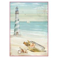 Stamperia A4 Decoupage Rice Paper Packed Sea Land lighthouse