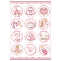 Stamperia A4 Decoupage Rice Paper Packed Baby Girl round subjects
