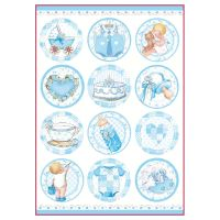 Stamperia A4 Decoupage Rice Paper Packed Baby Boy round subjects