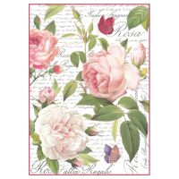 Stamperia A4 Decoupage Rice Paper Packed Vintage rose
