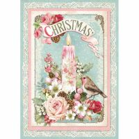 Stamperia A4 Decoupage Rice Paper packed Pink Christmas candle