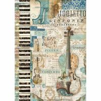 Stamperia A4 Decoupage Rice Paper packed Music violin