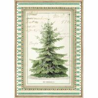 Stamperia A4 Decoupage Rice Paper packed Winter Botanic Christmas Tree
