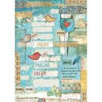 Stamperia A4 Decoupage Rice Paper packed Patchwork writings little birds and hearts
