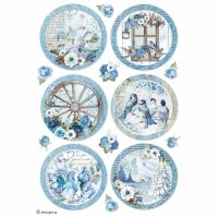 Stamperia A4 Decoupage Rice Paper packed Blue Land spheres