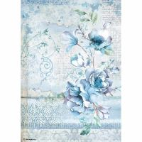 Stamperia A4 Decoupage Rice Paper packed Blue Land  flower