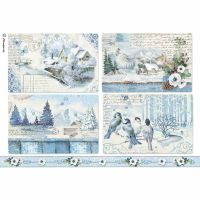 Stamperia A4 Decoupage Rice Paper packed Blue Land landscpaes