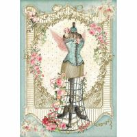 Stamperia A4 Decoupage Rice Paper packed Mannequin with flowers