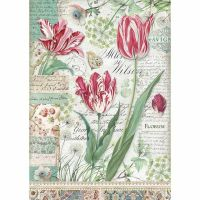 Stamperia A4 Rice paper packed Red Tulip