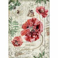Stamperia A4 Rice paper packed Poppies