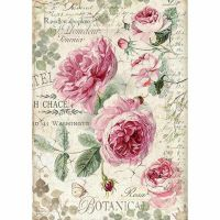 Stamperia A4 Rice paper packed Botanic English Roses