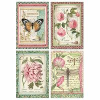 Stamperia A4 Rice paper packed Botanic Flower cards