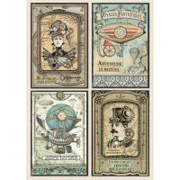 Stamperia A4 Rice paper packed Voyages Fantastiques cards