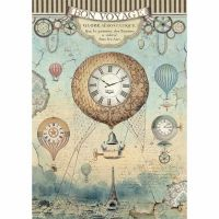 Stamperia A4 Rice paper packed Voyages Fantastiques balloon